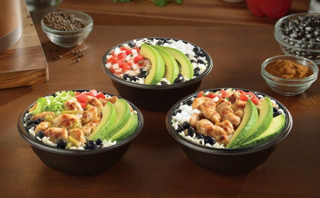 Del Taco Fresca Bowls | Pollo Asado with Avocado Bowl - grilled chicken, fresh sliced avocado, seasoned black beans, fresca lime rice, pico de gallo, and diced onions. Green Chile Chicken with Avocado Bowl - grilled chicken, fresh sliced avocado, seasoned black beans, fresca lime rice, diced tomatoes, lettuce, and green sauce. Avocado Veggie Bowl - fresh sliced avocado, pico del gallo, seasoned black beans, diced onions, and fresca lime rice.