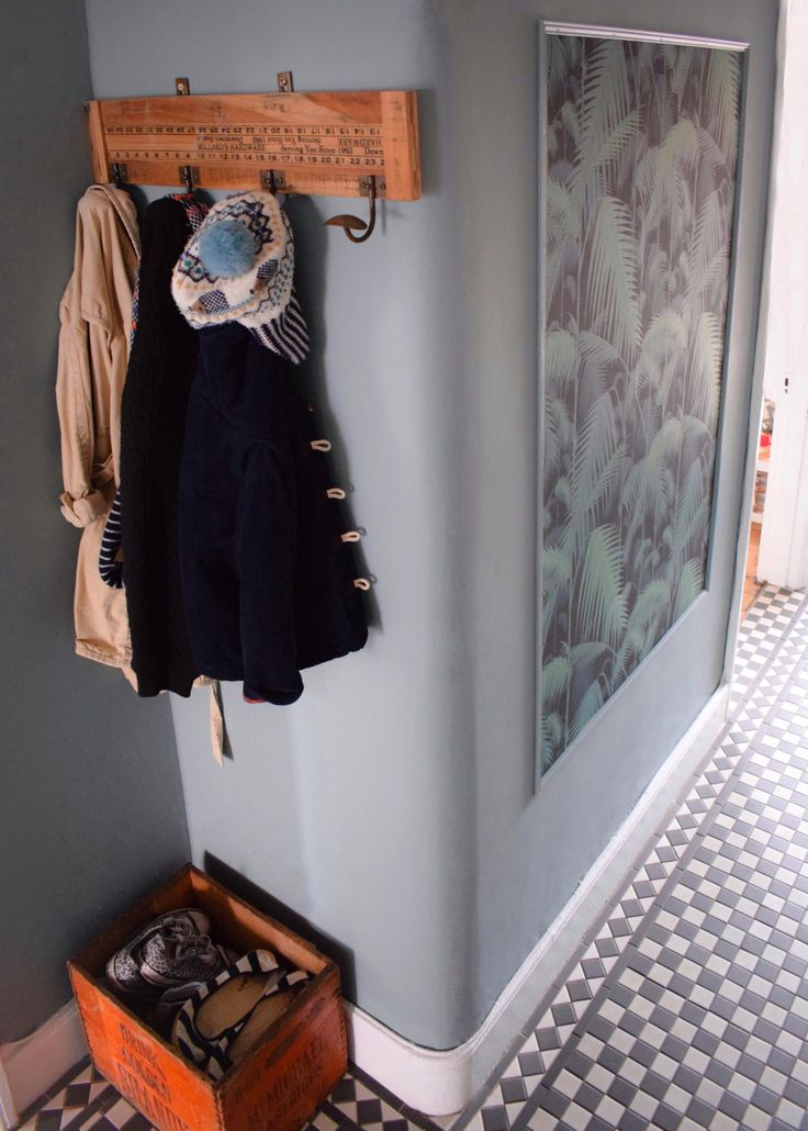 """vintage bohemian eclectic style hallway interiors. wall paint dark gray from Farrow & Ball called """"Oval Room Blue"""""""