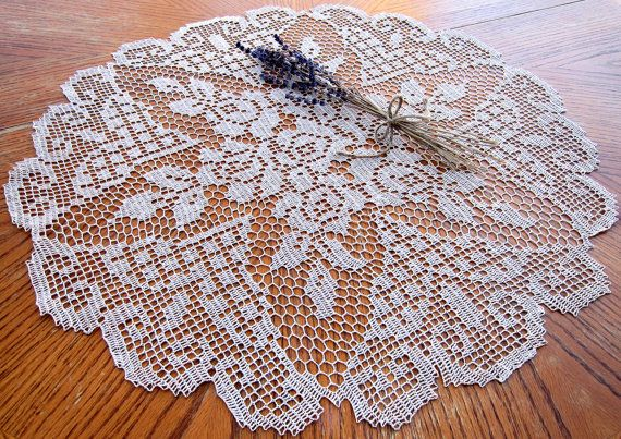 Vintage Hand Crocheted Ecru Lace ROSE Doily, 24 Inch