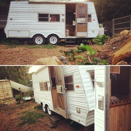 Remodeled Vintage 1974 Alfa Camper Trailer (fully titled all original documents, info DVD and receipts available) This adorable 16 foot pull behind camper trailer is perfect to live off grid in or travel in style with! With so much character you must see in person! Propane Stove, AC/ Heater Unit, Med. size Fridge, Sink, Grey…