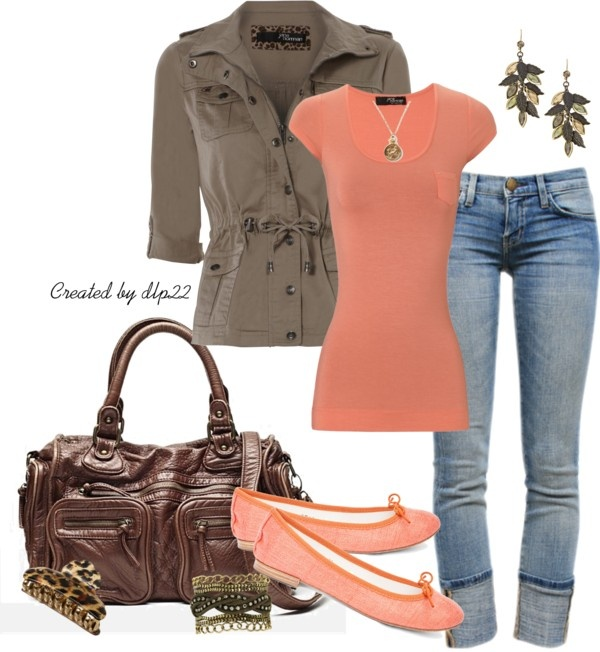 brown and coral..however, not crazy about the purse or the shoes.....however I like the jacket.