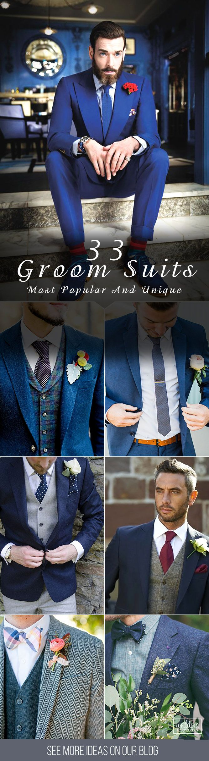33 The Most Popular Groom Suits ❤ And the choice of groom suits becomes one of the most important events. The perfect suit well fits a groom and suits him, reflects his personality. See more http://www.weddingforward.com/groom-suits/‎#groom #groomsmen