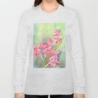 Long Sleeve T-shirt featuring Red Orchid by Ewally