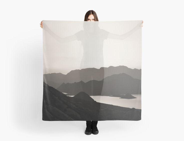 Buy Any 2 & Get 25% OFF - Mountains and a Lake Scarves by ARTbyJWP from Redbubble #scarf #apparel #artprints #blackandwhite #landscape --   Black and white capture of mountains and lake. • Also buy this artwork on apparel, stickers, phone cases, and more.