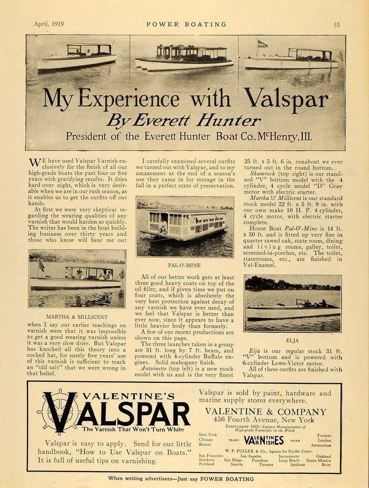 1919 Ad Valentine Valspar Varnish Everett Hunter Boats Original MB1 | eBay