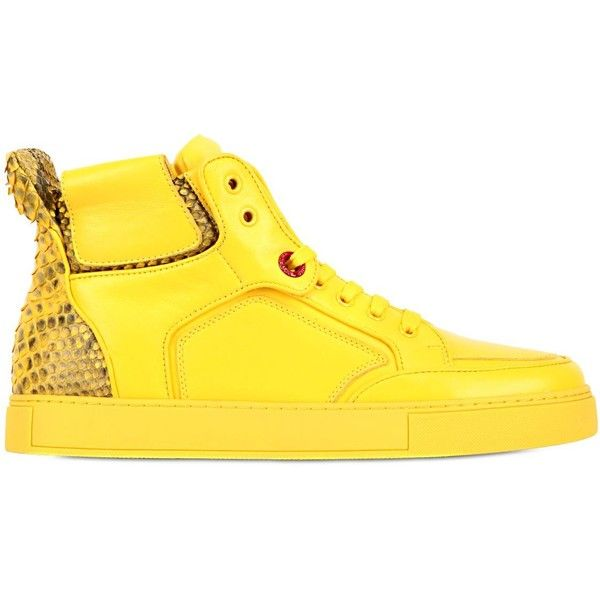 Royaums Women Handmade Leather High Top Sneakers ($575) ❤ liked on Polyvore featuring shoes, sneakers, yellow, leather sneakers, hi tops, snake skin sneakers, high top sneakers and high top shoes