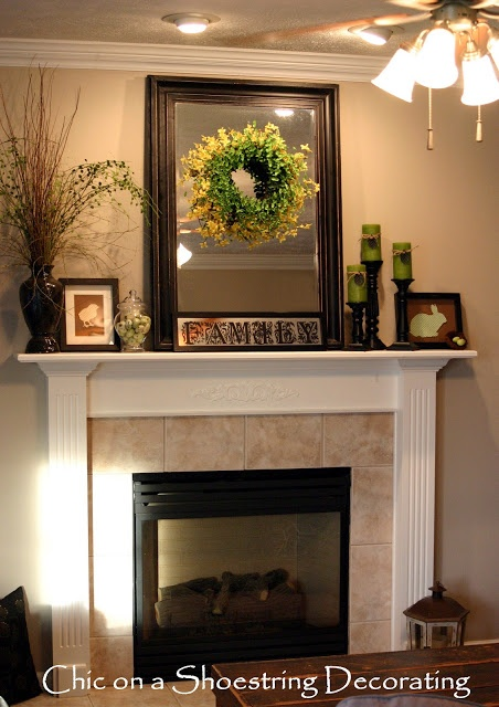 Family Room Tour --- Spring/Easter mantel.  http://chiconashoestringdecorating.blogspot.com/2012/08/lets-cut-rug.html