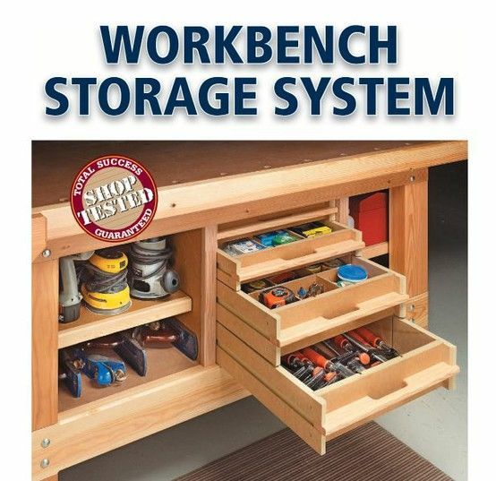 Do It Yourself Garage Workbench Plans: I Could Totally Use This Storage Under My Workbench