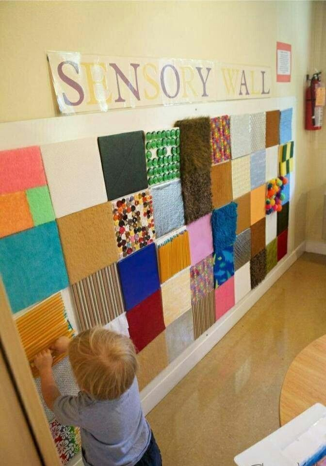 Look at this super easy to DIY make sensory wall- take scraps of different feeling material and put it into a patchwork design on the wall for sensory wall in a day! Pinned by @Abbey Adique-Alarcon Adique-Alarcon Phillips Zahtz