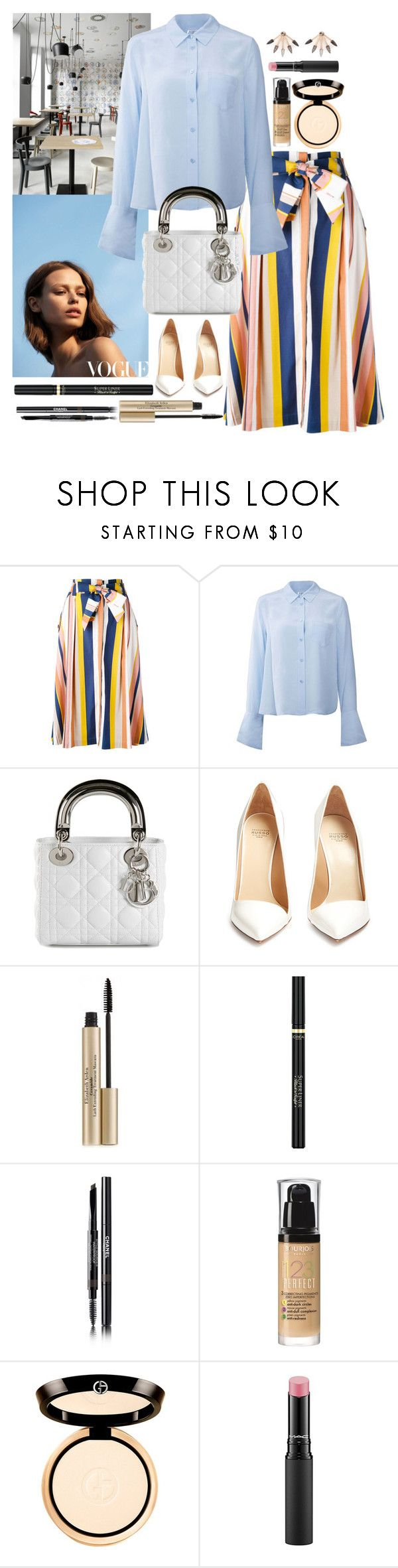 """""""Untitled #584"""" by ngkhhuynstyle ❤ liked on Polyvore featuring Tanya Taylor, Equipment, Francesco Russo, Elizabeth Arden, L'Oréal Paris, Chanel, Bourjois, Giorgio Armani, MAC Cosmetics and Pamela Love"""