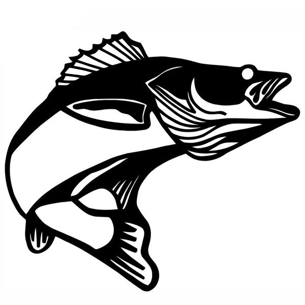 4 High Quality 11 9 7cm Walleye Pickerel Fish Cartoon Fun Car Styling Personalized Car Stickers Black Silver C2 0461 Car Stickers Wish Fish Silhouette Fishing Decals Fish Drawings