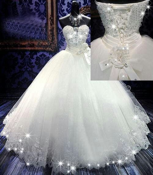 Princess dress with sparkle trimmings wedding dresses for White sparkly wedding dress
