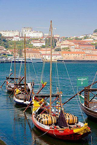 typical boats rabelos, Porto, Douro Province, Portugal