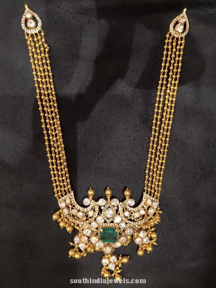 Gold Long Necklace with Emerald Pendant