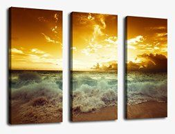 Orange home wall art décor is bold, vivid and fun. Orange wall art is typically bolder which means it is eye catching which makes this a great conversation piece for a wall in your home. Orange home décor makes your home feel warm and inviting not to mention fun and friendly.   Sunset Sea Beach Canvas Prints Wall Art Decor Framed 30x42 Inch Framed Ready to Hang - 3 Panels Large Modern Sunshine Sea Wave Pictures Painting Giclee Art Reproduction for Home and Office Decoration