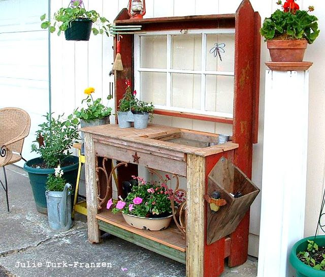 Selectively salvaged reclaimed wood potting bench