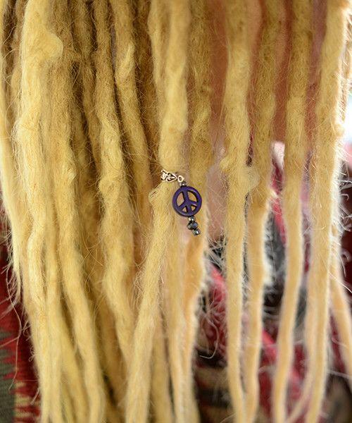 Purple peace dreadlock jewelry