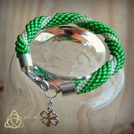 Leprechaun. Saint Patrick's Day.Lucky charm.Lime green.Snow white.Bracelet.Bead crochet rop.one of a kind.Unique gift.Clover charm.