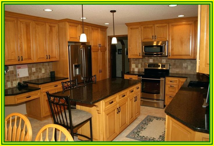 52 reference of granite countertops with honey oak ...