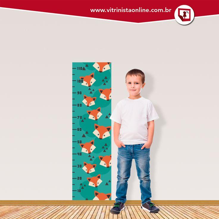 """A """"régua de crescimento infantil Raposa"""" deixa o quarto do filhote muito mais divertido! Confira esse e outros modelos em nosso site."""