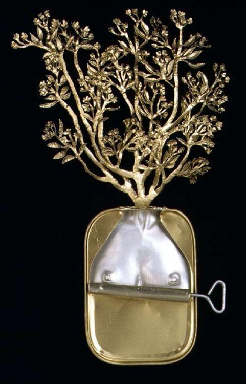 "Fiona Hall, Plumeria acutisolis, frangipani, araliya, malliya poo,1999. Aluminium & steel (Part of the famous 'Paradisus Terrestris"" series made from sardine tins) http://www.roslynoxley9.com.au/artists/17/Fiona_Hall/182/35714/"