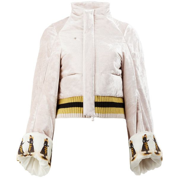 Undercover queen bee printed bomber jacket featuring polyvore women's fashion clothing outerwear jackets pink white jacket pink jacket pink bomber jackets pink flight jacket flight jacket