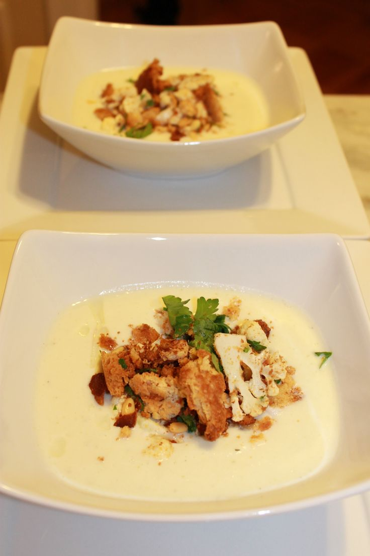Roasted Cauliflower Soup - recipe courtesy of Tyler Florence... delicious!
