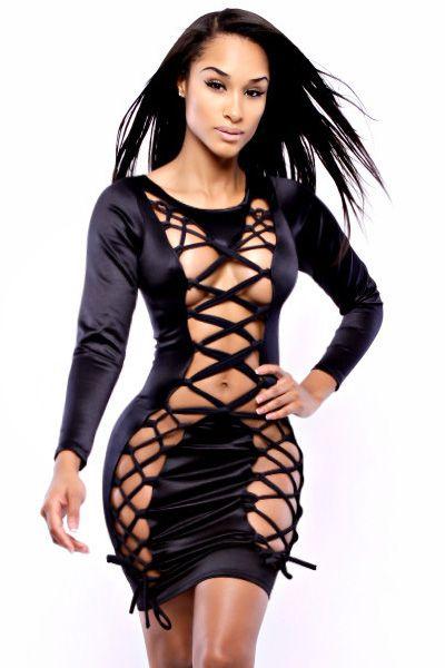 Black Showstopper Noir Lace Up Bodycon Dress