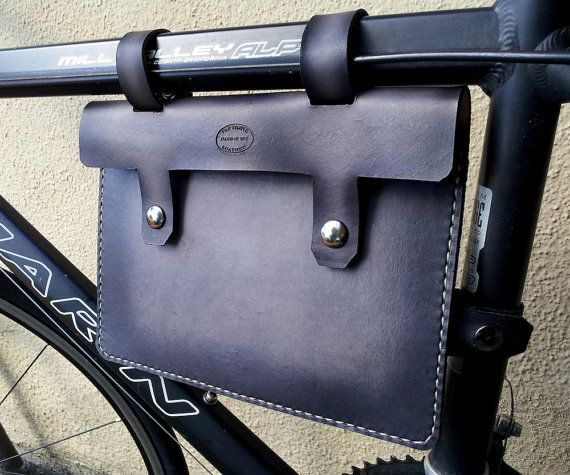 Black and Grey Leather Bike Frame Bag Hand by SanFilippoLeather, $85.00