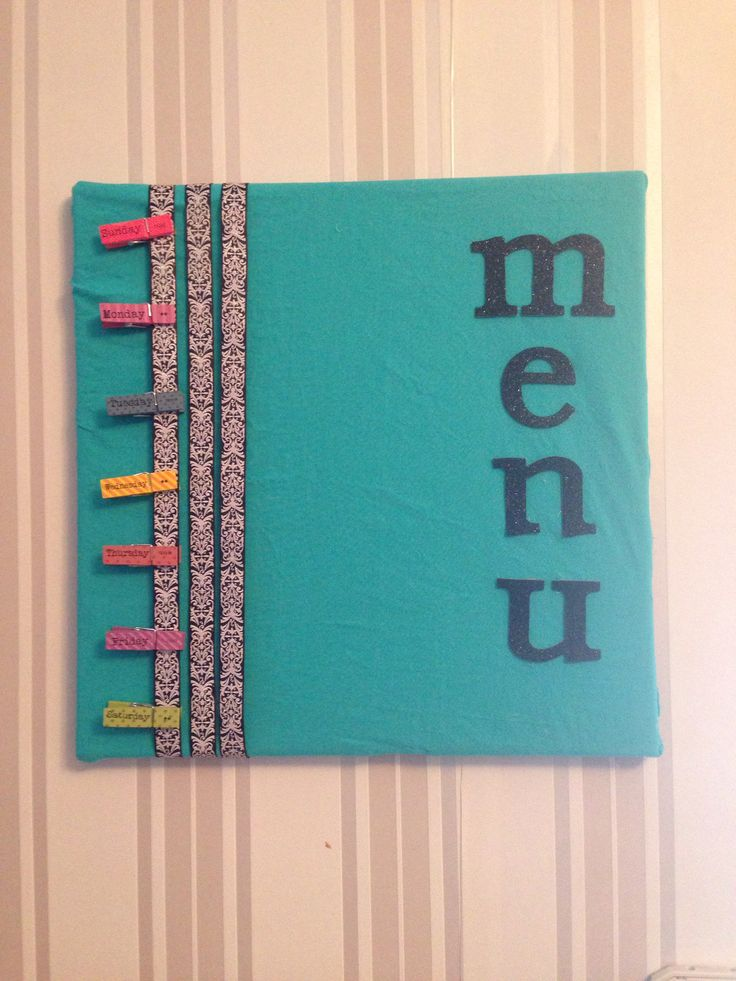 DIY menu board-so easy! Cork board, letters, ribbon, fabric, clothes pins, and lots of glue
