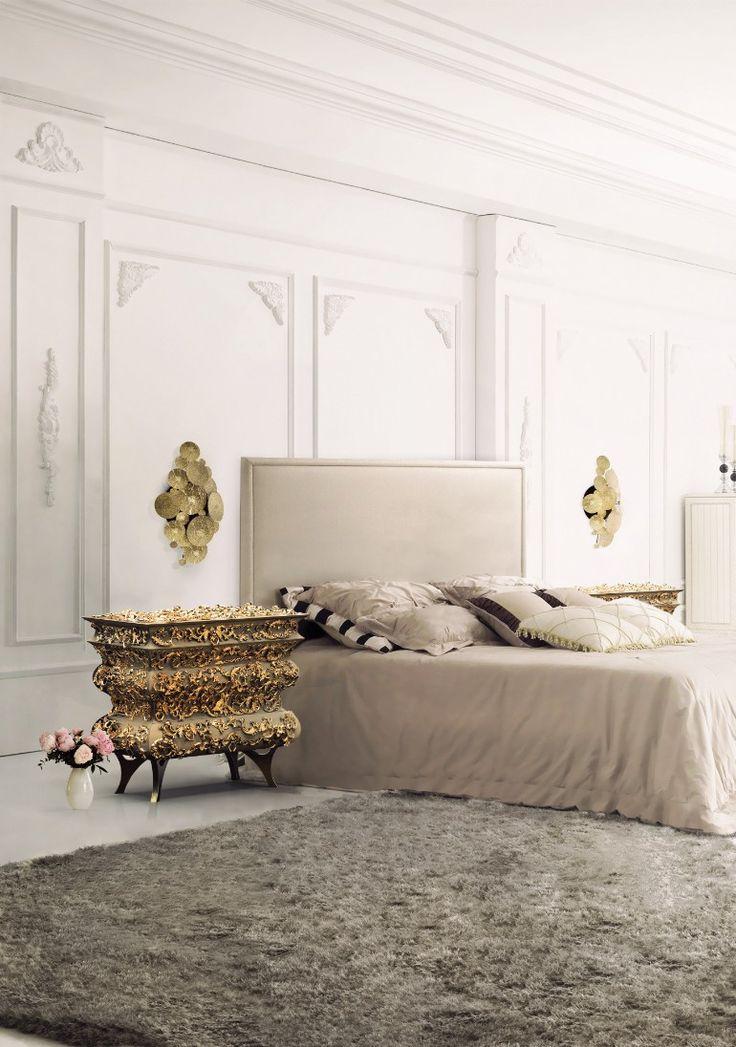 Exquisite gold and white bedroom with Boca do Lobo's crochet nightstand   www.masterbedroomideas.eu #masterbedroomideas #bedroomideas #goldbedrooms #whiteandgoldbedrooms #bedroomdesign #designideas