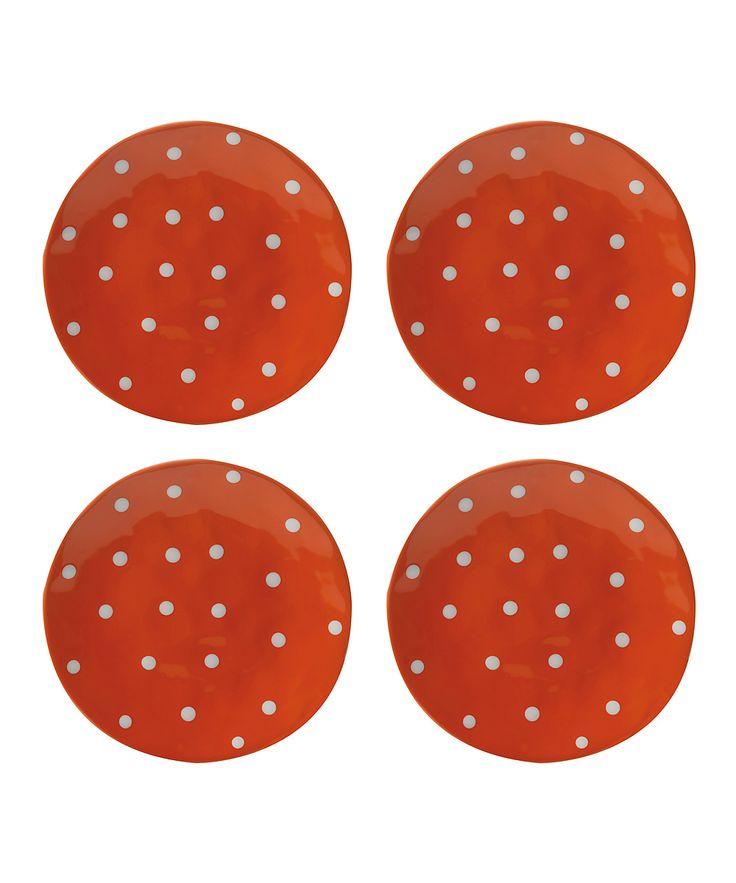 Orange Sprinkle 11'' Dinner Plate - Set of Four
