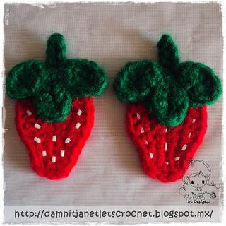 """The strawberry measures approx. 2"""" inches from its widest point and 3"""" long but size can vary based on yarn and hook size."""
