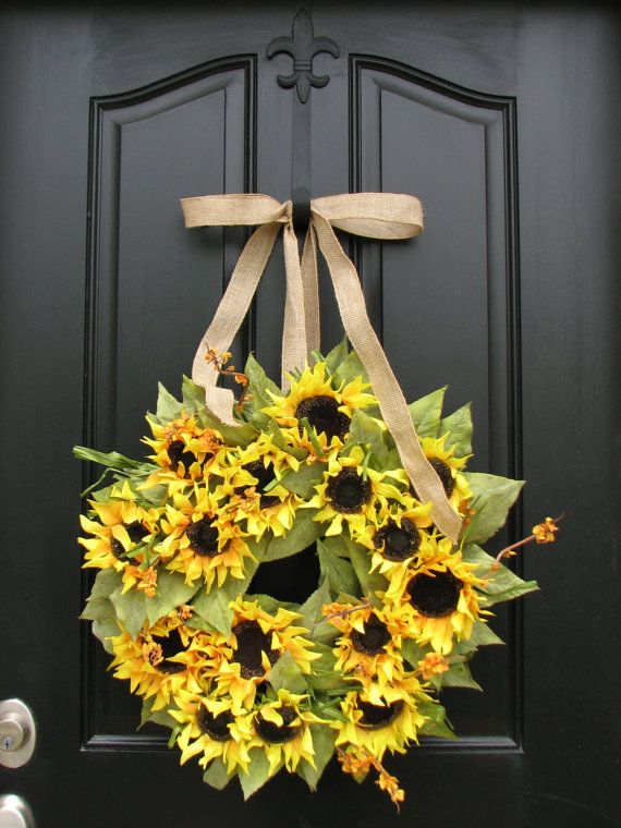 Sunflower Wreath,Summer Wreath, Sunflower Bouquet,Summer Sun,Door Wreath, Shabby Chic Decor, Country French, Sunflower Fields on Etsy, $100.00