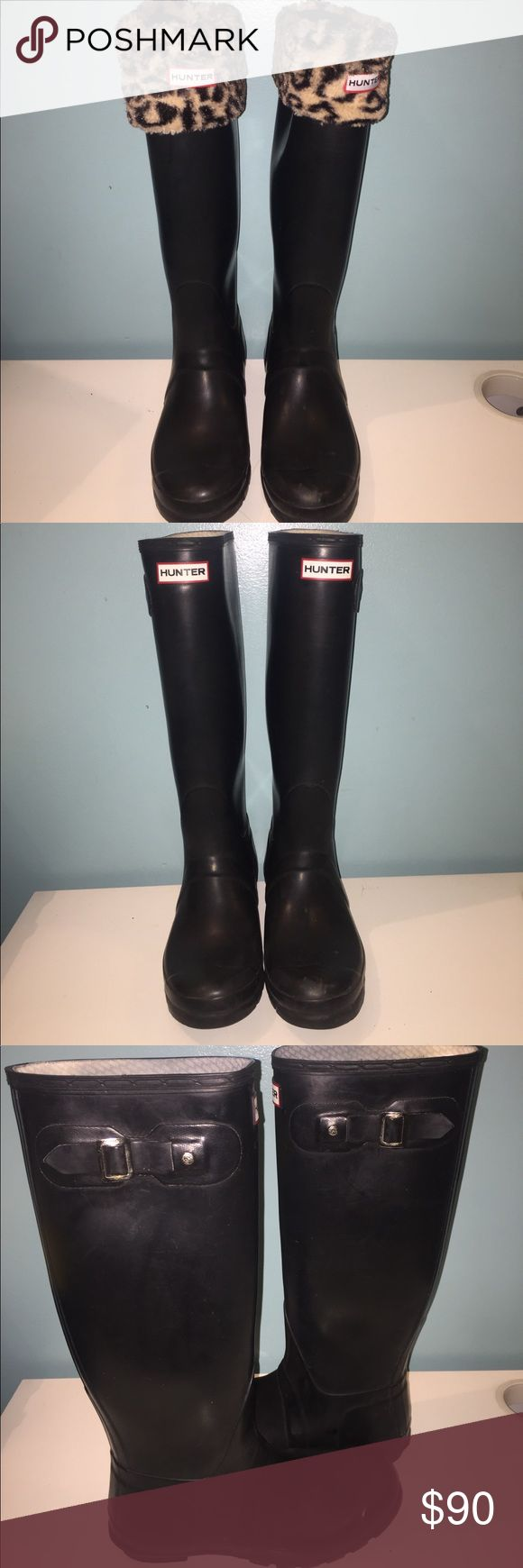 Hunter Rain boots Stylish black hunter boots. Welly Socks included. Box included. Hunter Boots Shoes Winter & Rain Boots