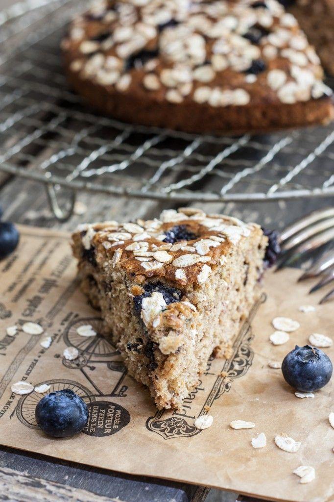Gâteau myrtilles et flocons d'avoine