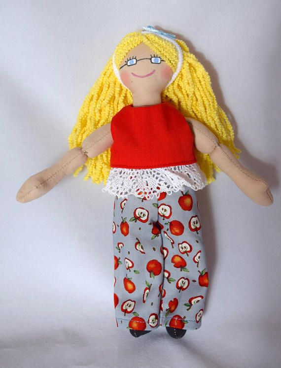 Doll Wearing Glasses  Kids Toy  Dress Up Doll  Handmade