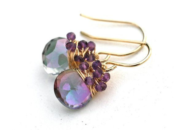 Earrings. Simple to make and pretty. Finding is a wire with cluster of tiny crystals wrapped around hole thru main bead.