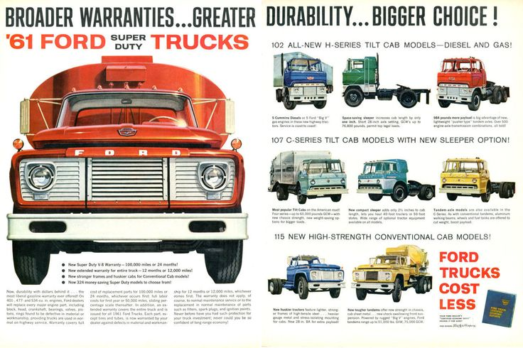 Vintage 1961 Ford Commercial Truck Ad Poster Print 24x36 | eBay