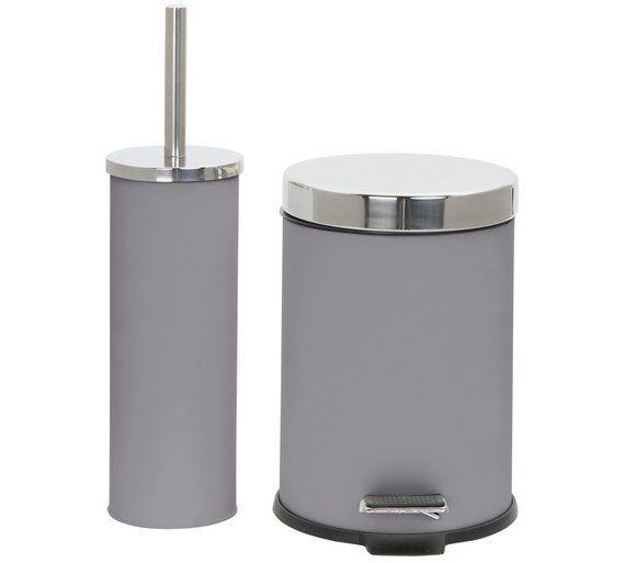 buy colourmatch slow close bin and brush set flint grey at argosco