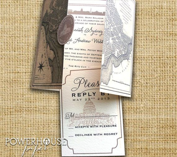 Washington DC Vintage Map Wedding Invitation or by PowerhousePaper, $8.95