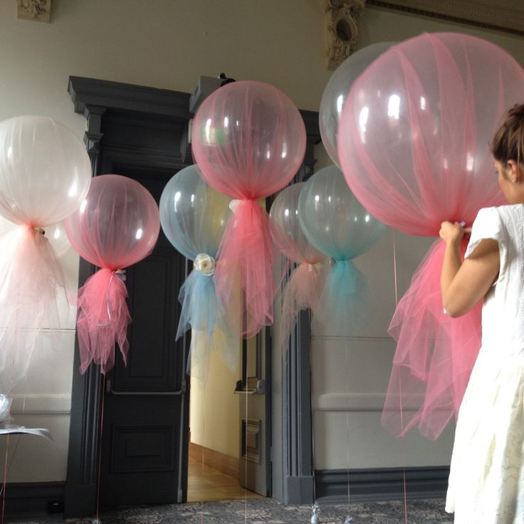 Tulle Balloons the blue ones with
