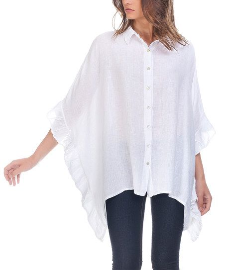 Laura Moretti White Cape-Sleeve Linen Button-Up Top | zulily