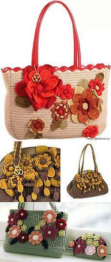 Как связать сумку с цветами крючком