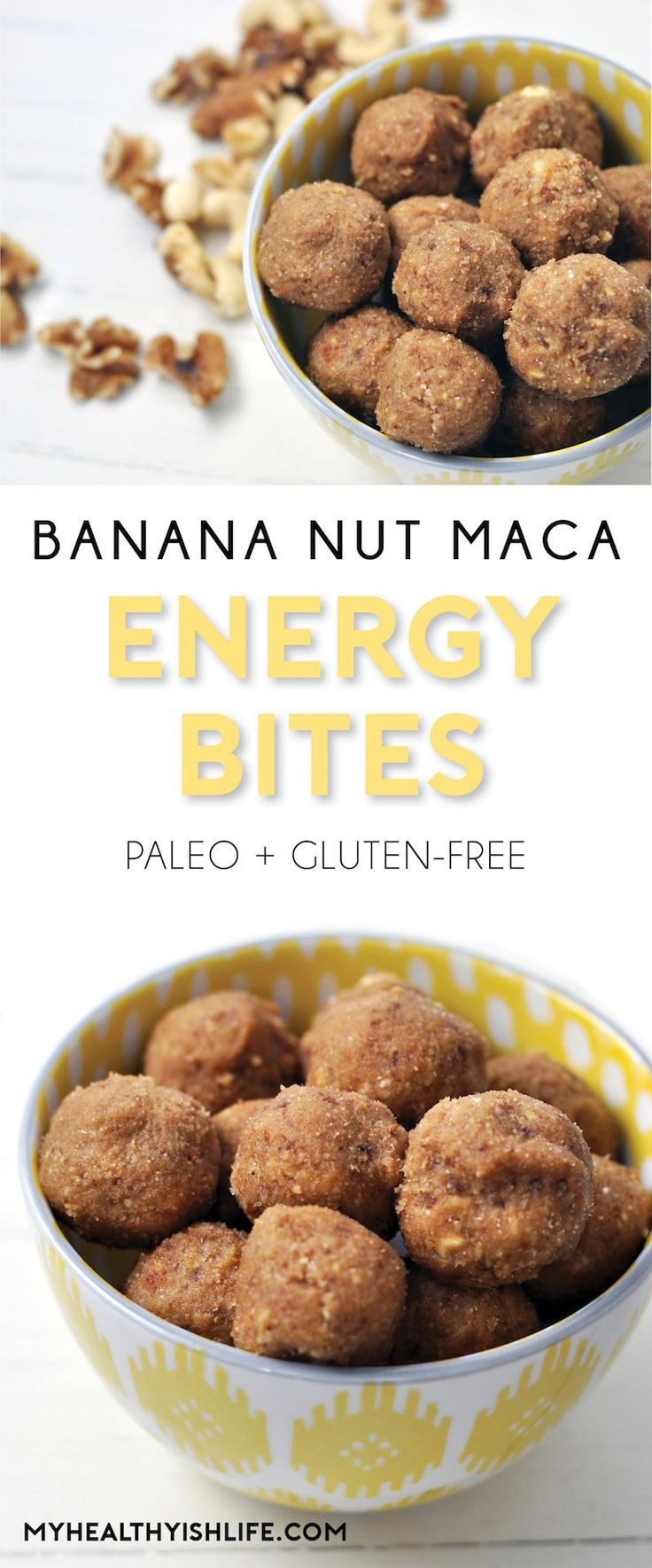 Need a new no-bake snack? These Banana Nut Maca Energy Bites will give you an extra boost to power through your day. Paleo, gluten-free, filled with fruit, nuts and sweetened with dates and honey.