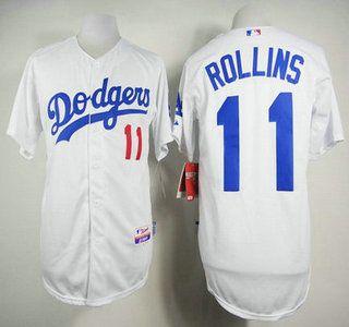 Los Angeles Dodgers Jersey 11 Jimmy Rollins White Jerseys
