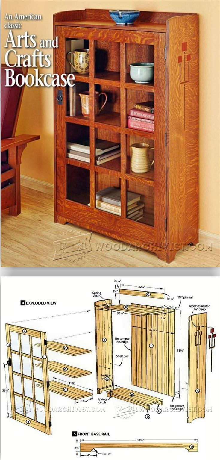 Arts and crafts furniture plans - Arts And Crafts Bookcase Plans Furniture Plans And Projects Woodarchivist Com