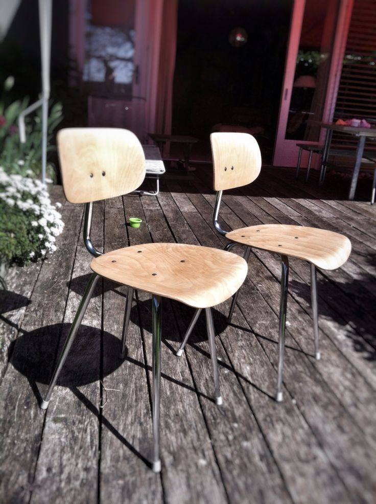 Restored clean-cut Swiss kitchen chairs