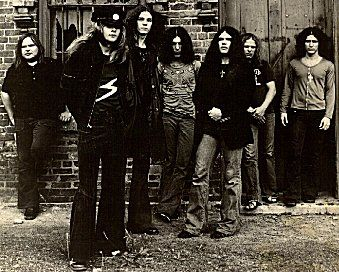 1973  This photo was taken in Jonesboro, Georgia while Skynyrd was preparing to release their (pronounced leh-nerd skin-nerd) album.   (L-R) Ed King, Leon Wilkeson, Allen Collins, Bob Burns, Gary Rossington, Ronnie VanZant, Billy Powell