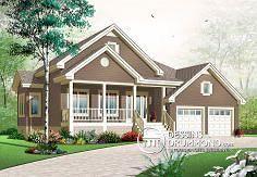 Plan de maison no. W3267 de dessinsdrummond.com  Agrandir le garage pour avoir une porte avant, agrandir la cuisine et l'entrée garage